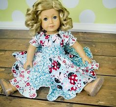 Violette's Doll Size Boutique Swirly Peasant Dress PDF Pattern