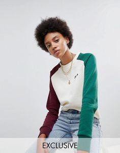 e439a134b4853f Fila Oversized Boyfriend Sweatshirt With Color Block Sleeves