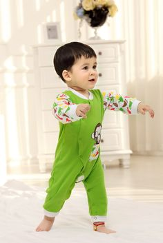 2015 New Cute Fashion Green Spring Autumn Baby Clothing Romper Unisex Factory Direct Clothing Cheap Character Newborn Jumper Cotton Fall For 0-24M Baby Boy Baby Girl Clothes Brand Infant Garment Fashion Striped Orange Roupas Bebes Clothes Jumpsuit Romper China Brand