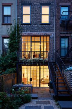 I miss terrace houses - Two-story steel window wall and balconies, a new addition to a Brooklyn brownstone remodeled by architect Drew Lang | Remodelista