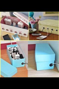Organizing cords - in the office, cover a box with the main color in the office, chic and organized