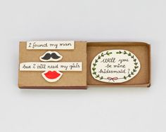 SAMPLE Will you be my Bridesmaid Cards Matchbox by shop3xu