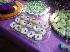 Peacock-themed bridal shower; food display. Yogurt parfaits