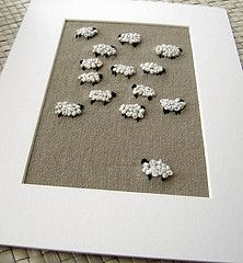 love the idea of french knot embroidery framed! sheep