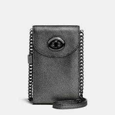 Chain Phone Crossbody in Metallic Caviar Calf Leather
