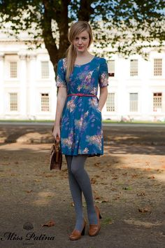 Floral Affair Dress in teal flower £58.80 available from our online store. Free delivery worldwide.