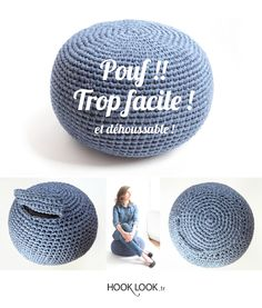 Tuto upgradé Pouf !! trop facile ! Et déhoussable. Removable cushion by hooklook. FREE DIY #pouf #crochet #cushion
