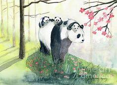 Panda Family Framed Art Print by Melly Terpening - Vector Black - Panda Painting, Painting & Drawing, Panda Family, Panda Love, Panda Bear, Family Painting, Art Vintage, Art Friend, Art Society