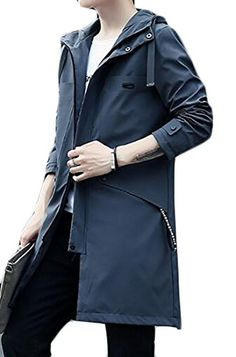 fd8ea9c89018 Zago Mens Zip Front Cotton Lightweight Hooded Jacket Trench Coats Hooded  Trench Coat
