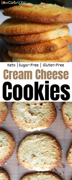 Low carb keto cream cheese cookies with almond flour. Easy gluten-free baked recipe Low carb keto cream cheese cookies with almond flour. Low Carb Desserts, Gluten Free Desserts, Easy Desserts, Low Carb Recipes, Baking Recipes, Snack Recipes, Dessert Recipes, Dinner Recipes, Cookie Recipes