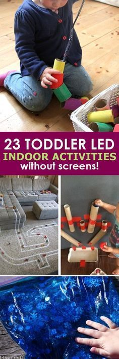23 Toddler Led Activites without Screens! These 23 toddler led activities will give you a little break without leaving that guilty feeling that comes with just handing them a screen! Toddler Play, Toddler Learning, Baby Play, Toddler Crafts, Crafts For Kids, Toddler Games, Baby Games, Indoor Activities, Infant Activities