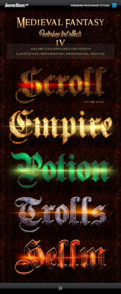 Medieval Fantasy Game Style Text Effects for Photoshop. Download here…
