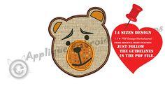 Bear Embroidery Applique Design Animals  Applique Teddy Bear