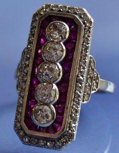 Bague art déco rubis diamants des années 1925
