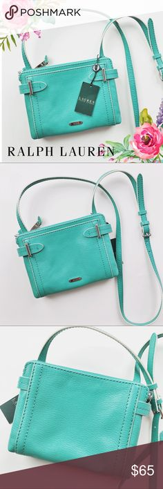 """NWT Ralph Lauren Leather Crossbody Gorgeous little Crossbody by Ralph Lauren in pretty """"Lagoon"""" color. Brand new with tags and leather care guide. Measures 8"""" x 6"""" with an adjustable drop which measures about 23"""" as is currently set. This one is gonna fly! 💸Get it while you can! 🎀MAKE ME AN OFFER🎀 Lauren Ralph Lauren Bags Crossbody Bags"""