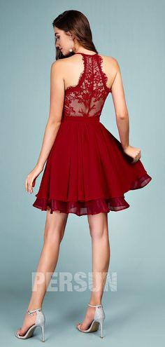 Cute Short Halter Burgundy homecoming dress with lace back - Persun. Burgundy Homecoming Dresses, Prom Dresses, Formal Dresses, Dress Out, Lace Dress, Cheap Cocktail Dresses, Formal Wear Women, Red Chiffon, Short Prom