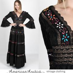 vtg 70s Black Mexican Wedding Dress Floral Lace Cocktail Boho Festival Maxi M £142.82 (1B)