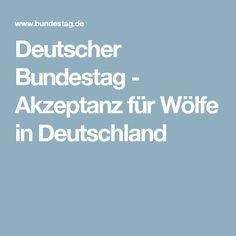 Deutscher Bundestag - Akzeptanz für Wölfe in Deutschland