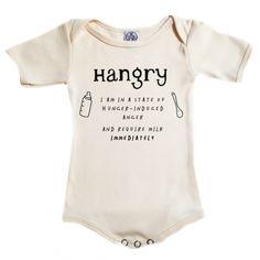 Organic cotton hangry onesie - Image Hangry onesie