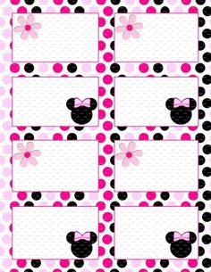 Minnie Mouse Birthday 35x25 Flat Labels Or Folding For Food Tables