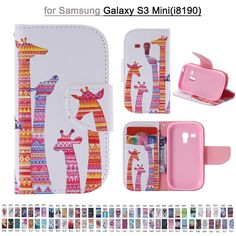 Fashion Painting Colorful PU Leather Flip Cover For Samsung Galaxy S3 Mini I8190 Cell Phone Bag Wallet Cases With Stand Function