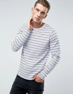 BELLFIELD LONG SLEEVE T-SHIRT IN STRIPE - WHITE. #bellfield #cloth #