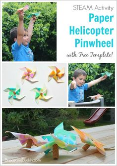 STEM and STEAM Activity for Kids: Paper Helicopter Pinwheel (w/ Free Template)