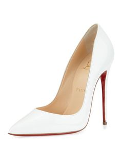 So+Kate+Patent+120mm+Red+Sole+Pump,+White+by+Christian+Louboutin+at+Neiman+Marcus.