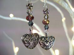 Heart earrings, swarovski Crystal earrings, Beaded heart earrings, Tibetan silver earrings, crystal earrings - by Tamara Harris by THWoodlandCreatures on Etsy