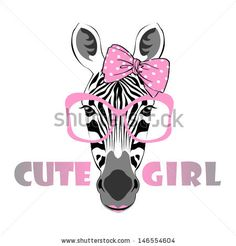 vector animal portrait, zebra in pink glasses with bow, cute girl by Olga_Angelloz, via Shutterstock