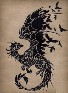 Wall Sticker Dragon Birds Fantasy Fairytale Gothic Decor For Bedroom Hip Tattoo Quotes, R Tattoo, Back Tattoo, Tattoo Drawings, Body Art Tattoos, Tribal Tattoos, Epic Tattoo, Dragon Tattoo Pictures, Small Dragon Tattoos