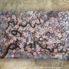 Bilder XXL ORIGINAL Silbernes Malerei KSAVERA Großes Bild 110x160 cm Kirschblüte