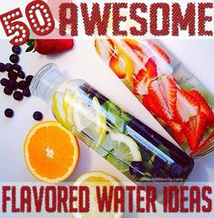 Fruit INFUSED water // Ways to add some flavor to your water. These fruit infused waters make hydrating a little easier. Juice Smoothie, Smoothie Drinks, Detox Drinks, Smoothies, Infused Water Recipes, Fruit Infused Water, Infused Waters, Flavored Waters, Yummy Drinks