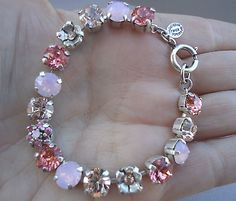 CATHERINE POPESCO Gorgeous Vintage Rose and Pink Opal Crystal SILVER Bracelet