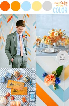 Wedding Color Story | Orange, Blue, Yellow + Gray http://www.theperfectpalette.com/2013/08/color-story-orange-blue-yellow-gray.html