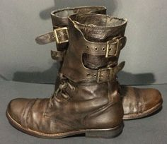 AllSaints Damisi Brown Leather Combat Boots Women's Size 41 Size 10.5