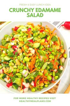 This fresh & crunchy recipe is loaded with ingredients that will keep you full all the way until dinner! It starts with edamame, radish, carrots, cucumber, and cashews and it topped with a delicious homemade dressing! Raw Food Recipes, Lunch Recipes, Kid Recipes, Healthy Recipes, Edamame Salad, Frozen Chicken Recipes, Vegetarian Meals For Kids, Toddler Dinners, Toddler Lunches