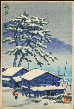 Farmhouse in Snow by Kawase Hasui --Japanese Woodblock Print