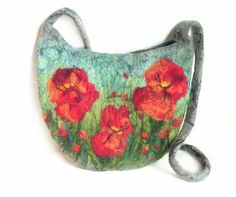 Felted bag floral felt handbag wool black blue by MarlenaRakoczy, $85.00