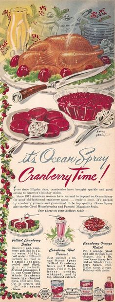 OceanSpray Cranberry Sauce Vintage Recipe Ad