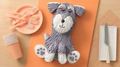 Don't tarry getting a piece of this terrier – he's cute, but too delicious to last long at a party! Print this handy cake template to make cutting out the pieces a snap.