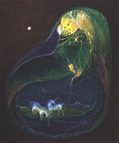 Dance of the Unicorn - Susan Seddon Boulet Art Visionnaire, Unicorn Art, Witch Art, Soul Art, Visionary Art, Sacred Art, Beautiful Creatures, Amazing Art, Fantasy Art