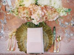 Pink and Gold Wedding Place Setting   photography by http://takenbysarah.com/