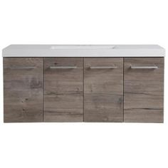Domani Stella 48.5 in. W x 18.75 in. D Vanity in White Washed Oak with Cultured Marble Vanity Top in White with White Basin SL48P2-WO at The Home Depot - Mobile