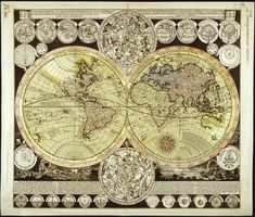 Map of the world and celestial bodies, by Adam Friedrich Zuerner, 1700s