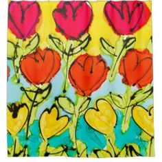 Shower Curtain Happy Tulips Lovitude Custom Shower Curtains, Tulips, Happy, Painting, Things To Sell, Painting Art, Ser Feliz, Paintings, Painted Canvas