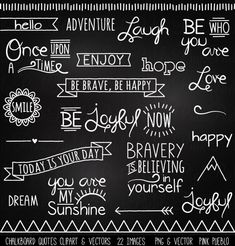 Chalkboard Quotes Clipart Clip Art, Chalk Board Words Clipart Clip Art Vectors - Commercial and Personal Use - Ideen rund ums Haus - Chalk Art Chalkboard Doodles, Blackboard Art, Chalkboard Writing, Chalkboard Paper, Chalkboard Lettering, Chalkboard Designs, Chalkboard Quotes, Chalk Fonts, Chalkboard Ideas