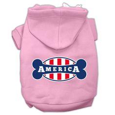 Bonely in America Screen Print Pet Hoodies Light Pink Size Med (12)