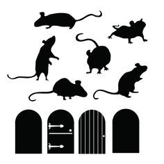 Mice Doors Silhouettes - Animal - Wall Decal Custom Vinyl Art Stickers for Homes, Schools, Kids Rooms, Offices, Interior Designers Mouse Silhouette, Silhouette Vinyl, Silhouette Portrait, Silhouette Projects, Vinyl Art, Vinyl Wall Decals, Halloween Crafts, Halloween Decorations, Animal Wall Decals