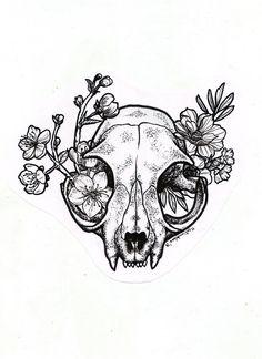 Cat Skull Tattoo, Skeleton Tattoos, Skull Tattoo Design, Tattoo Designs, Upper Arm Tattoos, Leg Tattoos, Body Art Tattoos, Sleeve Tattoos, Line Art Tattoos
